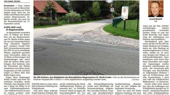 AZ-Beitrag zur Plakatierung in Bienenbüttel